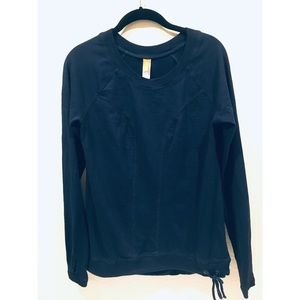 Lucy Navy crew neck knit sweater navy thumb holes